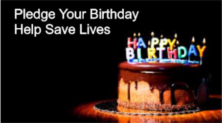 Picture of a birthday cat,  Says Pledge your birthday, Help save lives.